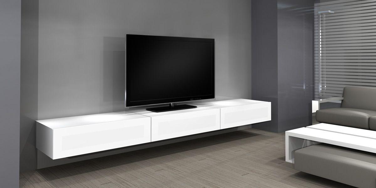 meuble tv norstone khalm blanc - Meuble Tv Blanc Laque Sans Pied
