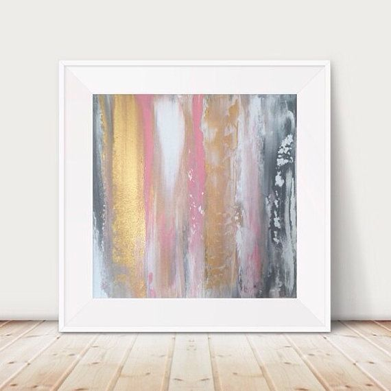 Large Pink And Gold Painting Pink And Grey Painting By