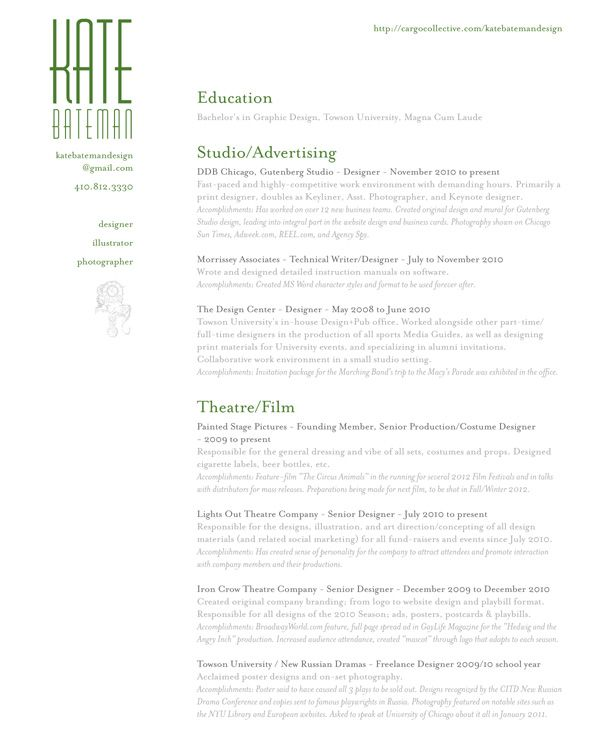 Graphic Designer Resume Design | Kate Bateman | 2.2012 #resume ...