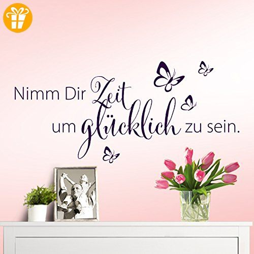 wandaro w3307 wandtattoo spruch nimm dir zeit um gl cklich. Black Bedroom Furniture Sets. Home Design Ideas
