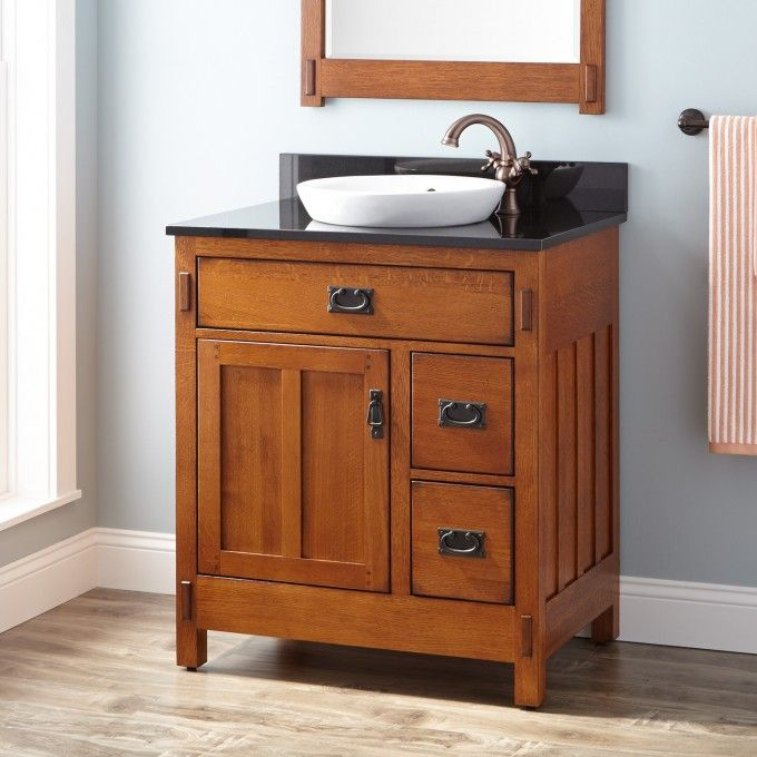 "Vanity Bathroom Rustic 30"" american craftsman vanity for semi-recessed sink - rustic oak"