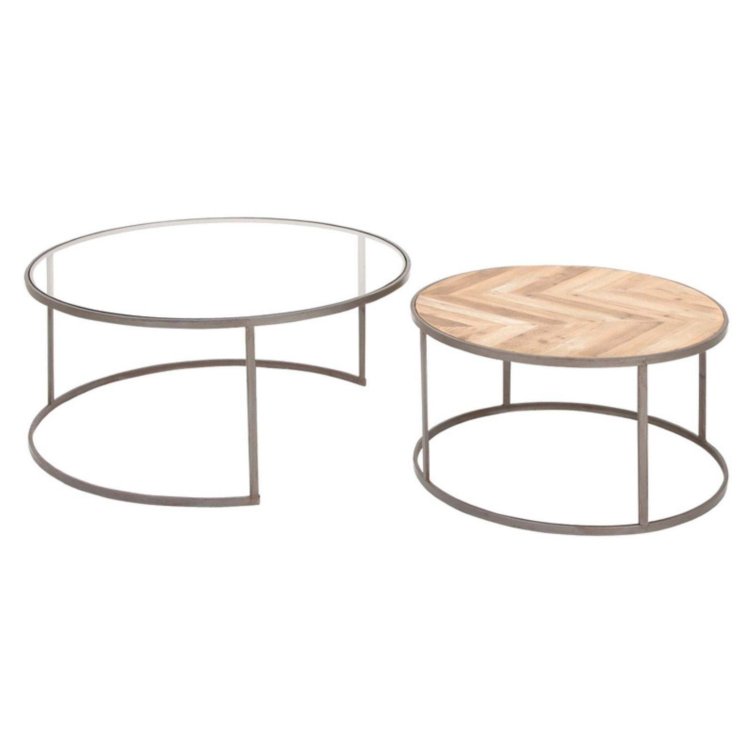 Light And Dark Stained Cypress Wood Forms A Herringbone Motif On The Top Of The Two Pieces In The De Round Coffee Table Sets Nesting Coffee Tables Coffee Table [ 1500 x 1500 Pixel ]