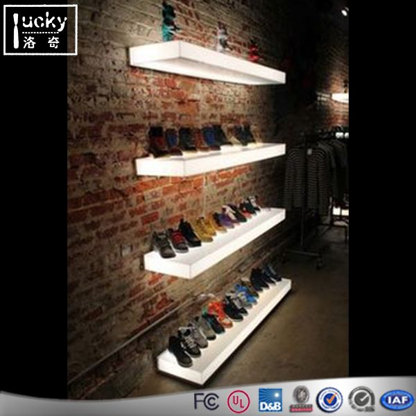 Acrylic led shoe display shelf interior decorative for Sneaker wall display