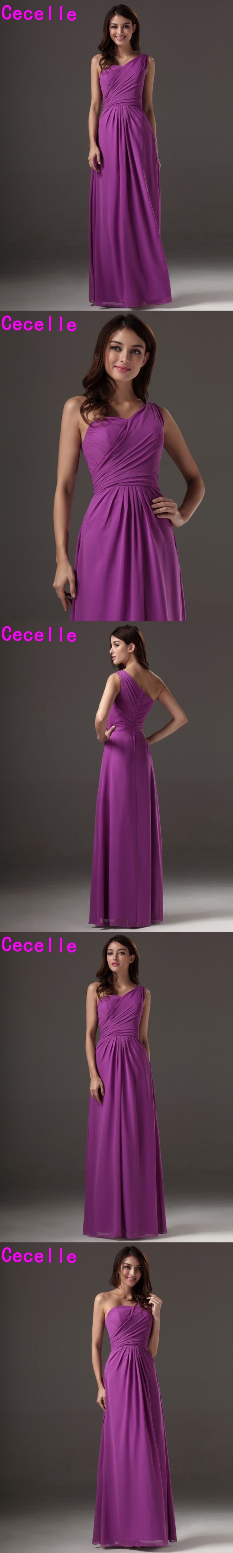 Long Floor Length A-line Purple One Shoulder Bridesmaids Dresses ...