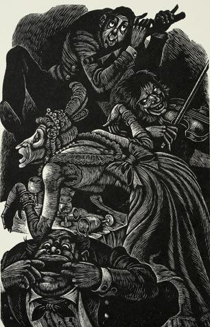Fritz Eichenberg-The System of Doctor Tarr  and Professor Fether From The Tales Of Edgar Allan Poe,  Wood engraving, 1944.