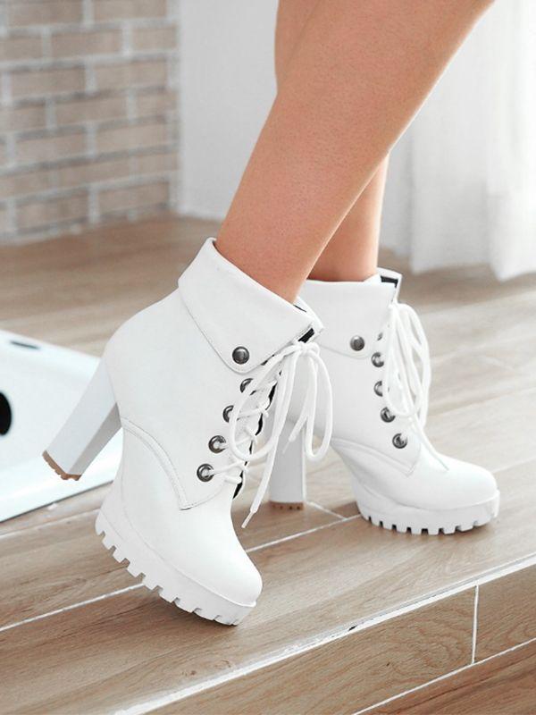 White Round Toe Chunky Rivet Fashion High-Heeled Boots