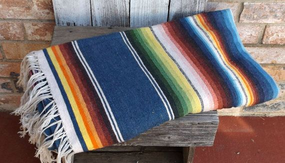 Vintage Rainbow Colored Mexican Blanket by BrassRabbitVintage