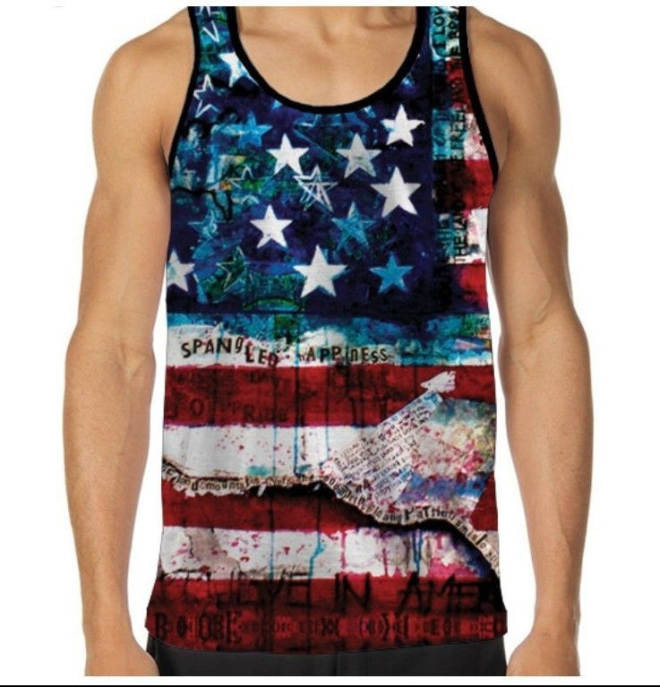 Star Spangled Banner American Flag Sublimation Tank Top For Men Printed In Usa Mens Tank Tops Tank Tops Mens Sweatshirts Hoodie