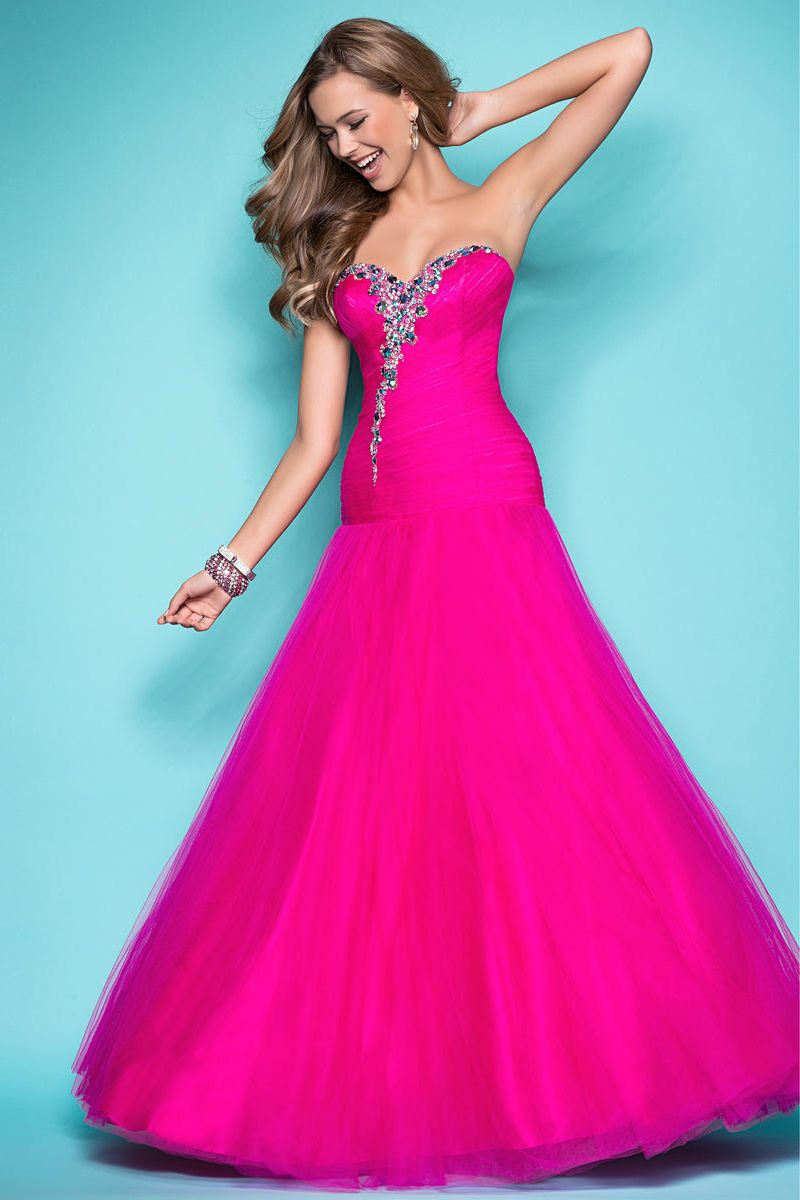 Beaded sweetehart hot pink prom dress prom dresses for Pink homecoming dresses