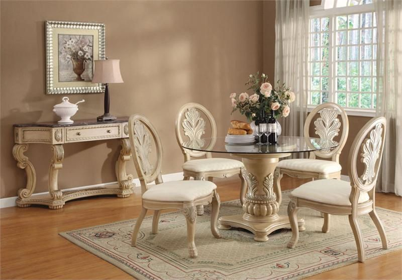 Living Room Gl Table Sets Pc Antique White Wood Round Top Dining