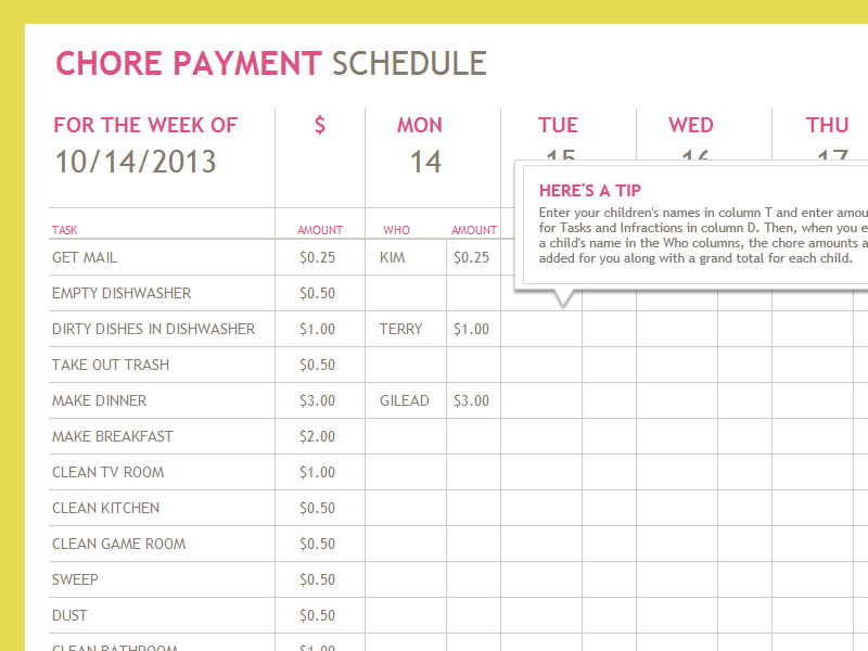 Chore Payment Schedule  Templates  OfficeCom  Little Dickens