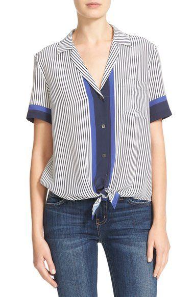 36cdbec85b583 EQUIPMENT Kiera Tie Front Stripe Silk Shirt.  equipment  cloth ...