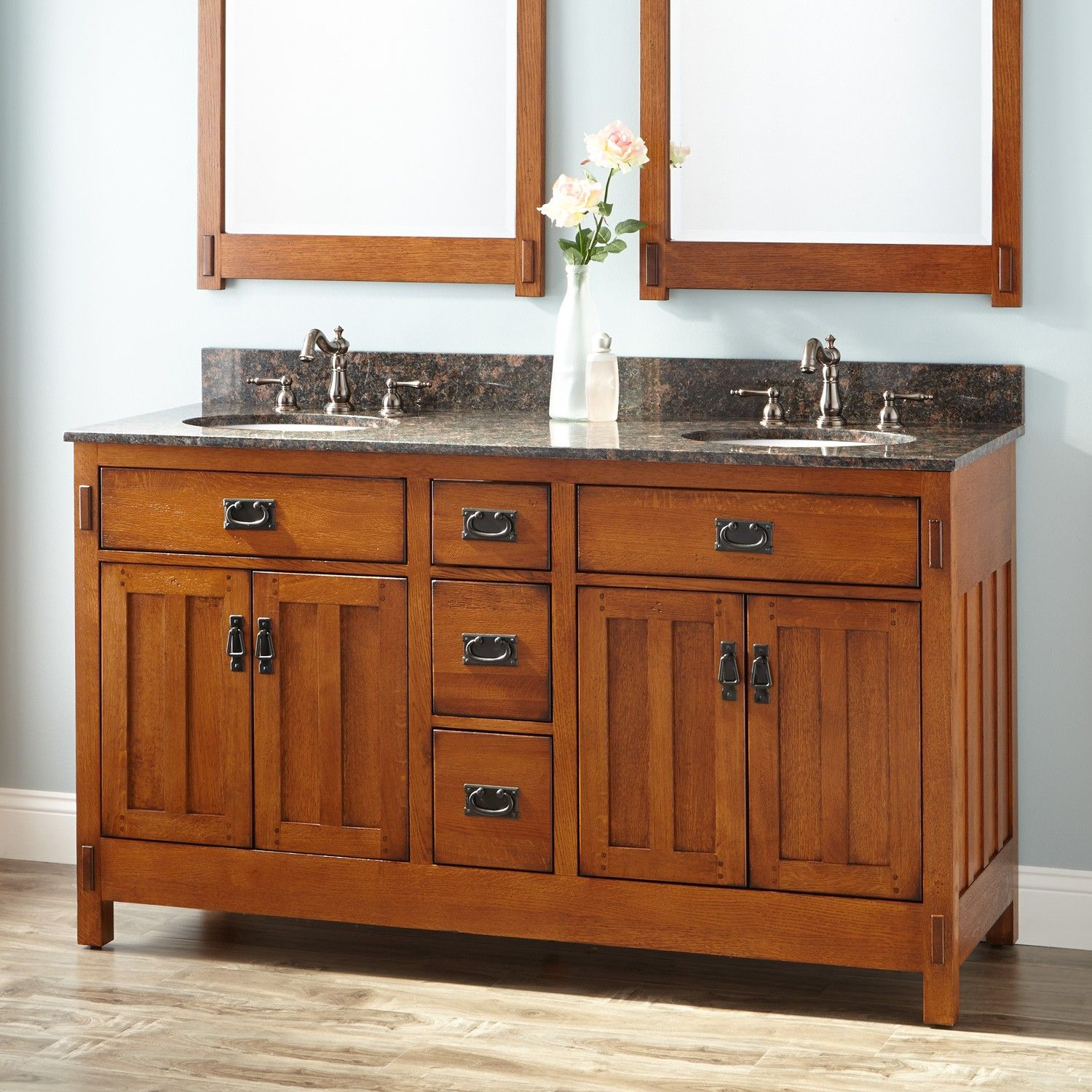 60 American Craftsman Double Vanity For Undermount Sinks Rustic Oak American Craftsman Oak