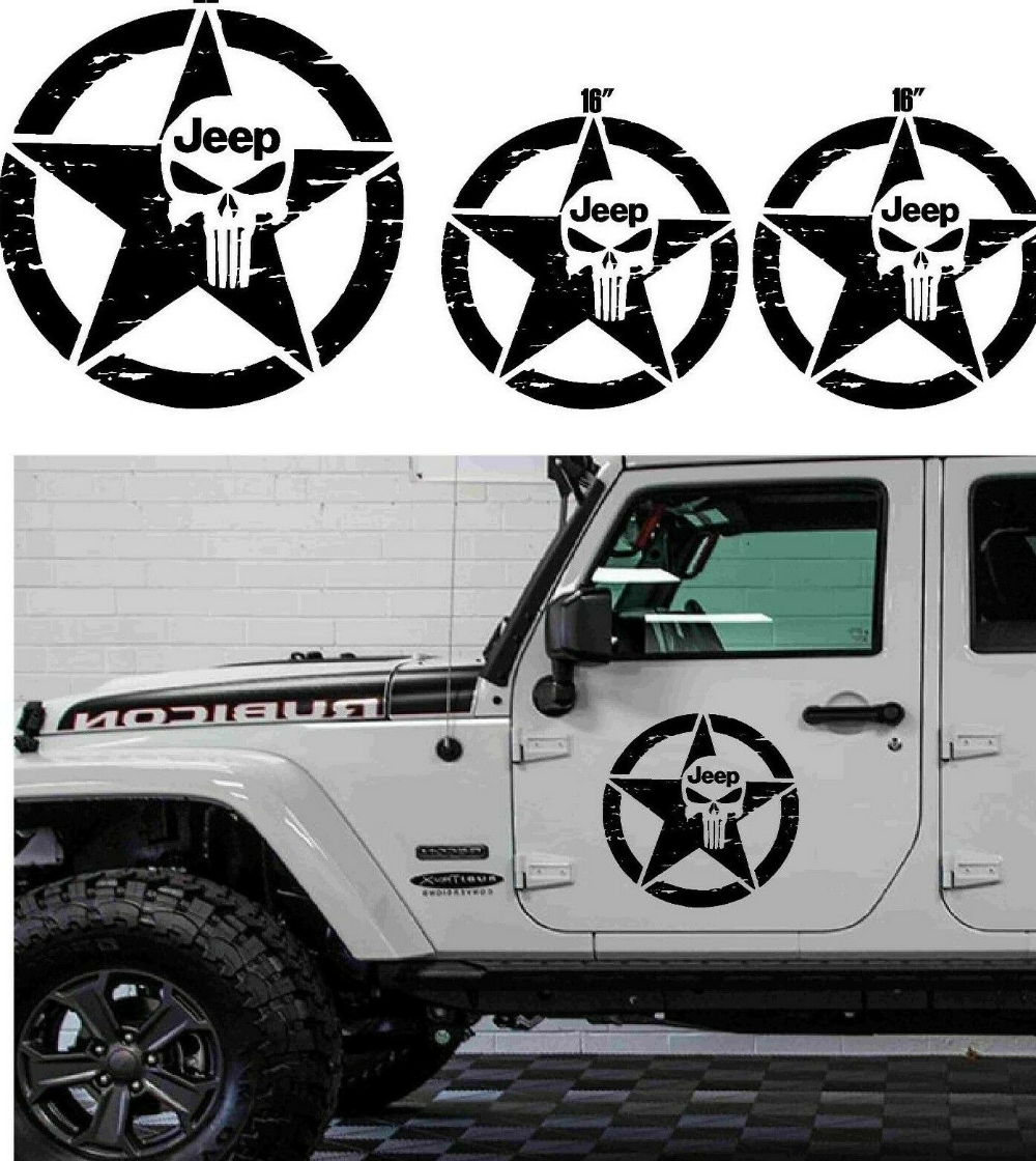 Jeep Star Decal Distressed Blackout Army Military Car Truck Wrangler 10 Colors