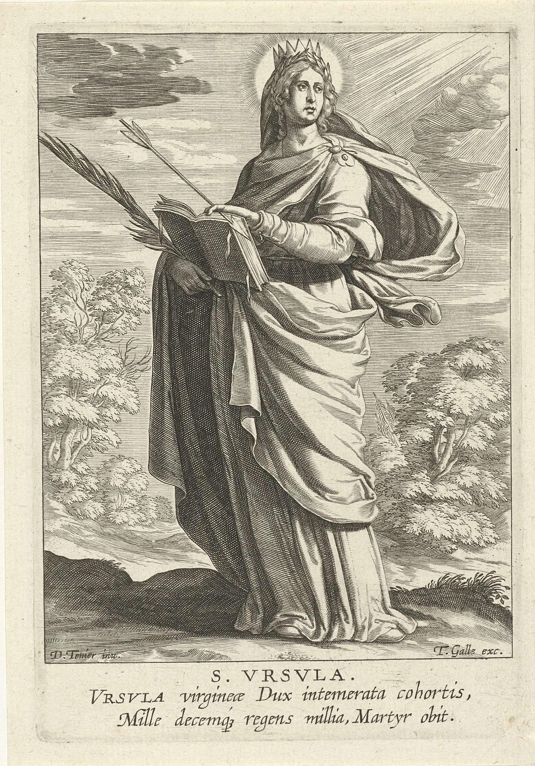 Theodoor Galle | Heilige Ursula, Theodoor Galle, 1581 - 1633 | De heilige Ursula van Rome. Zij draagt in haar handen een geopend boek, een palmtak en een pijl (van haar martelaarschap). De prent heeft een Latijns onderschrift en maakt deel uit van een serie over vrouwelijke heiligen