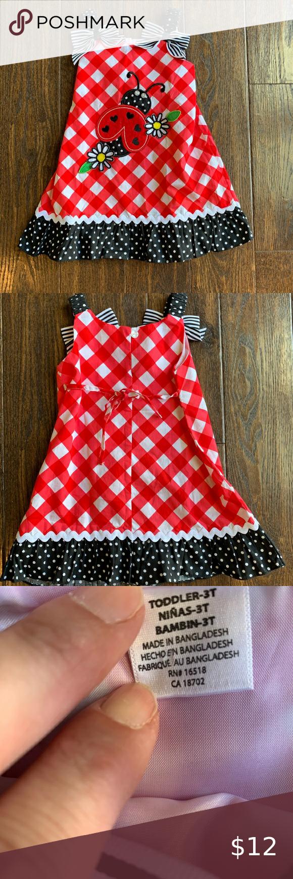 Adorable Youngland Ladybug Dress 3t Ladybug Dress Cute Summer Dresses 3t Dress [ 1740 x 580 Pixel ]