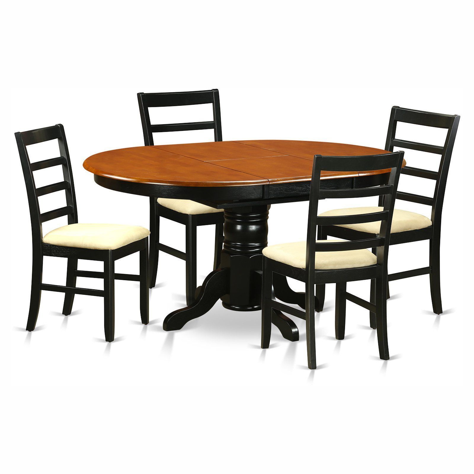 East West Furniture Avon 5 Piece Pedestal Oval Dining Table Set Gorgeous Oval Dining Room Table Set Design Ideas