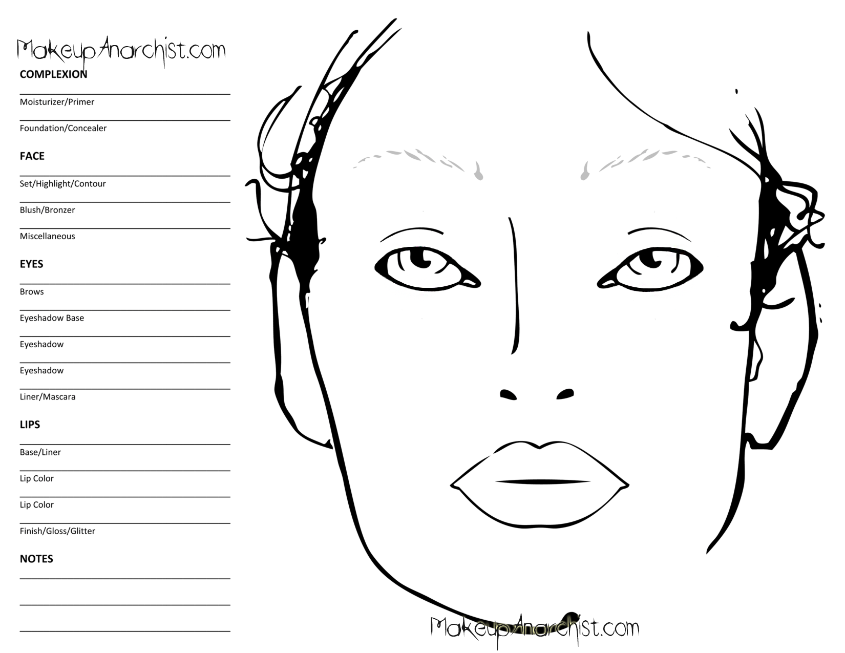printable face charts for makeup