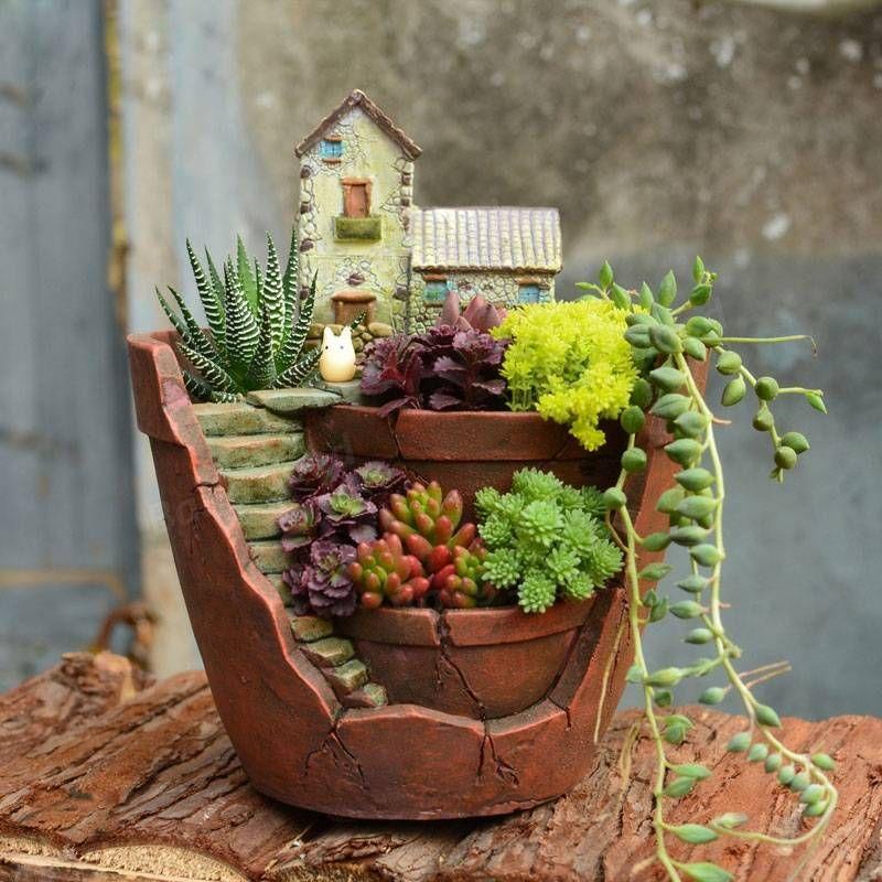 Plantas suculentas creativas maceta de resina planta verde for Decoracion de plantas en macetas