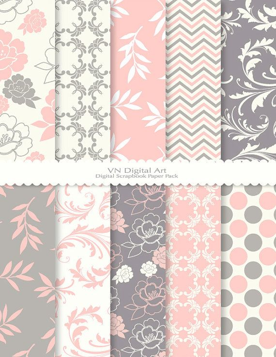 Grey And Pink Digital Scrap Pack 3 Weddingmarriage Love