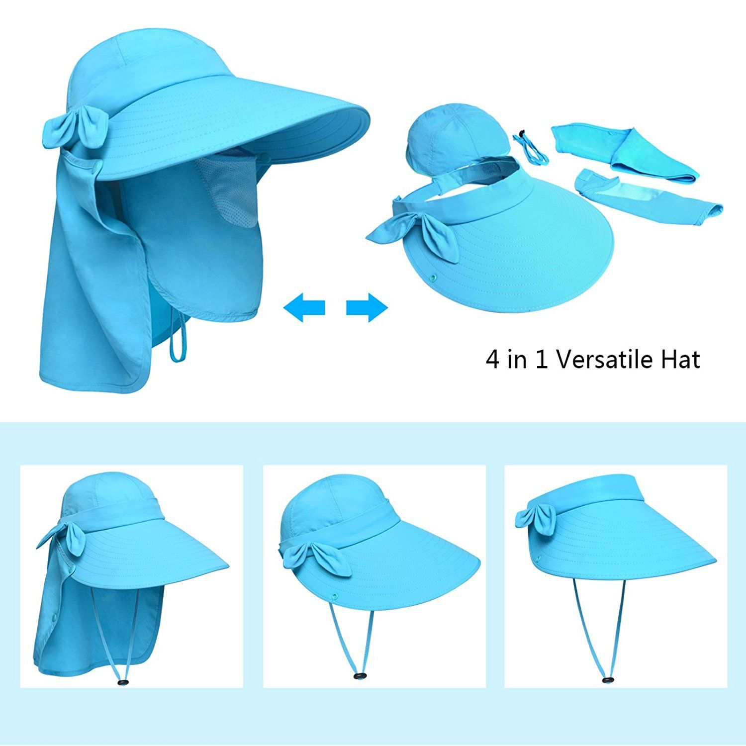 Gifts for Cyclists Men Christmas - Lenikis Women s UPF50 Sun Visor Foldable  Wide Brimmed UV Protection Hat with Detachable Flaps   Want to know more 58d16dddad56