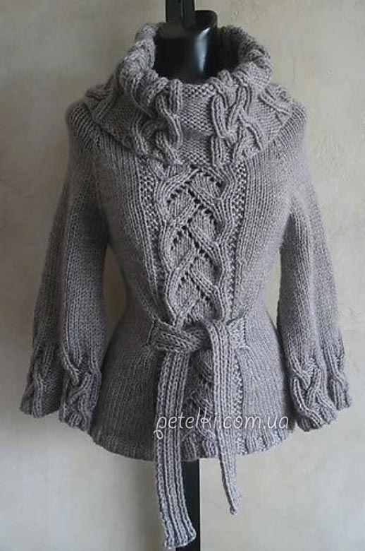 a0951e1940d Шикарный свитер спицами косами. Описание вязания