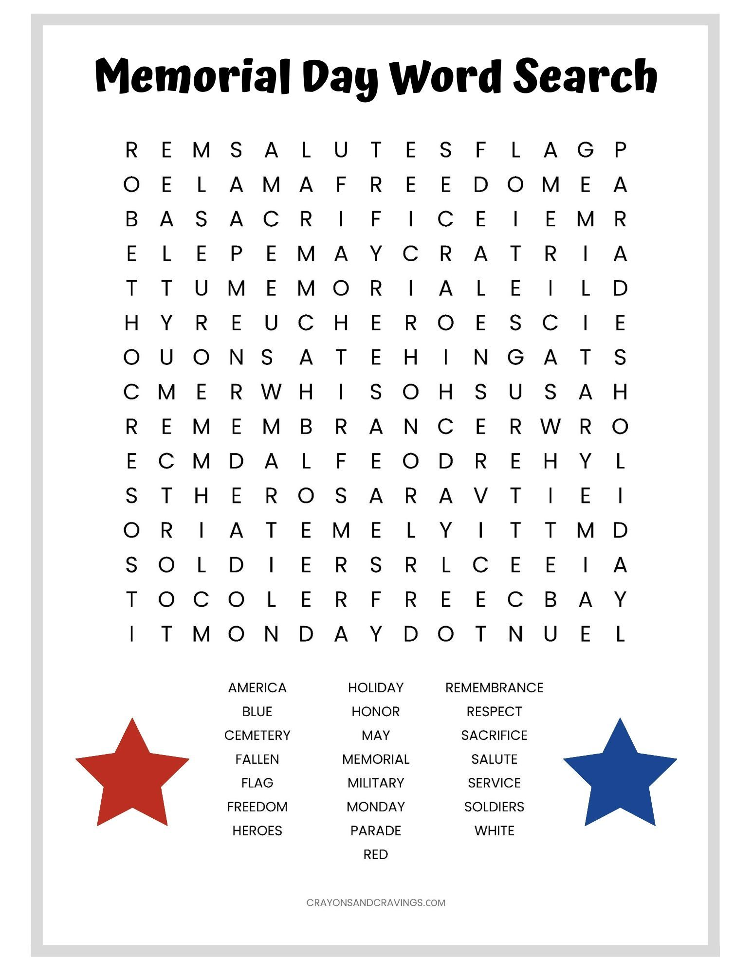 A Memorial Day word search free printable with 22 words to ...