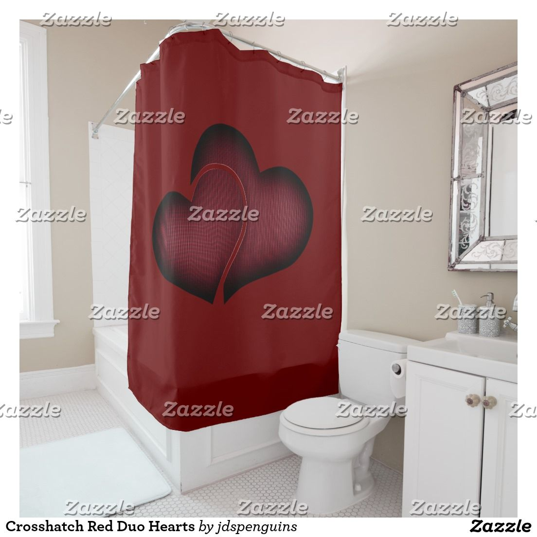 Crosshatch Red Duo Hearts Shower Curtain