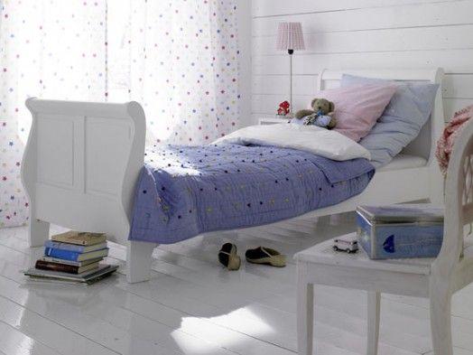 cooles Mädchen Zimmer gestalten Ideen Kleinkinder weiß lila Decke - landhausstil schlafzimmer weiss ideen