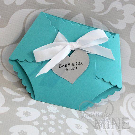 Deluxe Diaper Shape Baby Shower Invitation Set Of 10 Light Teal Aqua Robin Egg Blue Bab