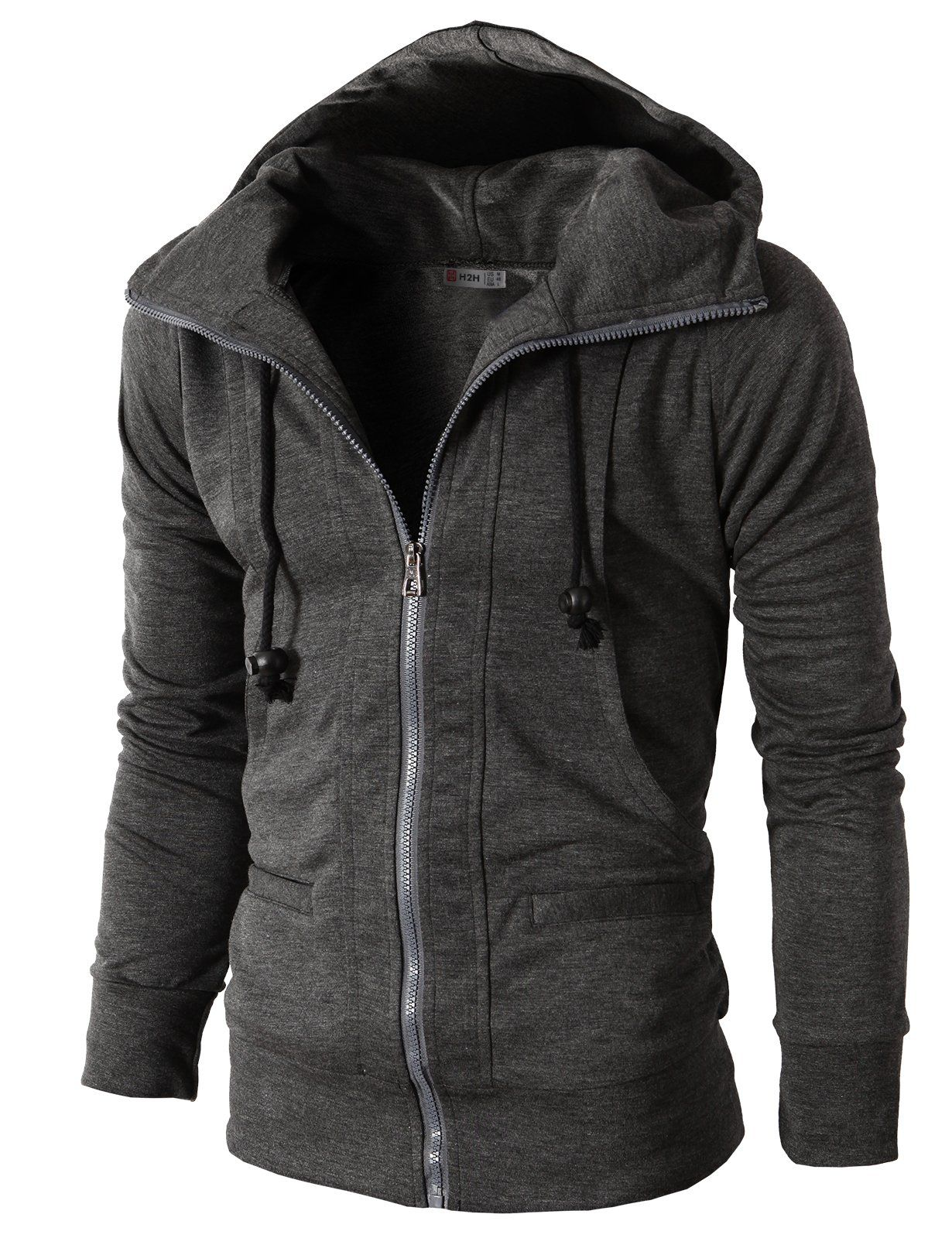 H2h Mens Casual Fashion Active Jersey Slim Fit Hoodie Zip Up Charcoal Us Xl Asia Xxxl Kmohol019 Stylish Hoodies Men Slim Fit Hoodie Hoodies [ 1600 x 1230 Pixel ]