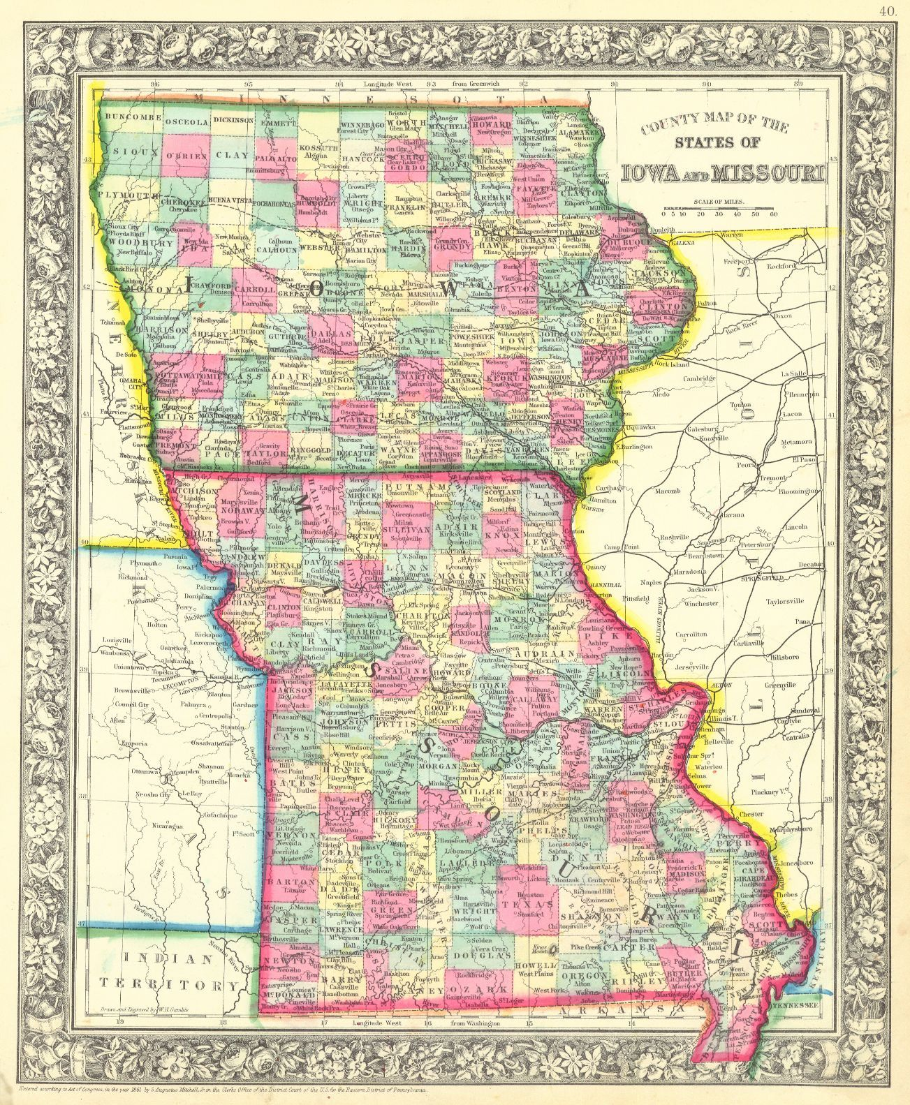 s in iowa map County Map Of The States Of Iowa And Missouri Gamble W H s in iowa map