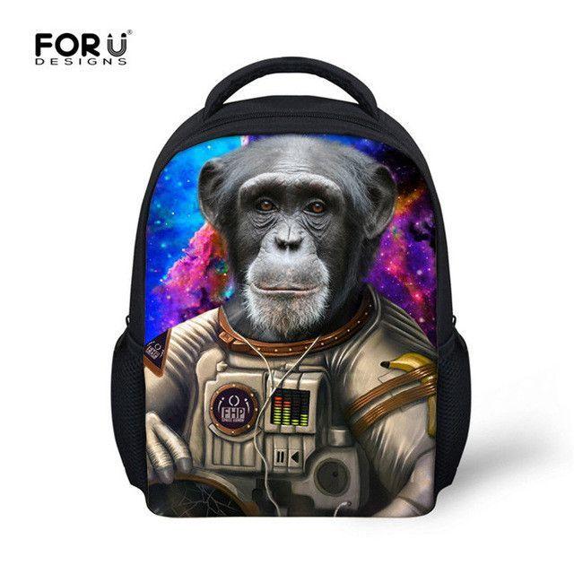 Mini Baby Kindergarten Bookbags Cool 3D Animal Monkey Kids School Bags Casual Children Schoolbag
