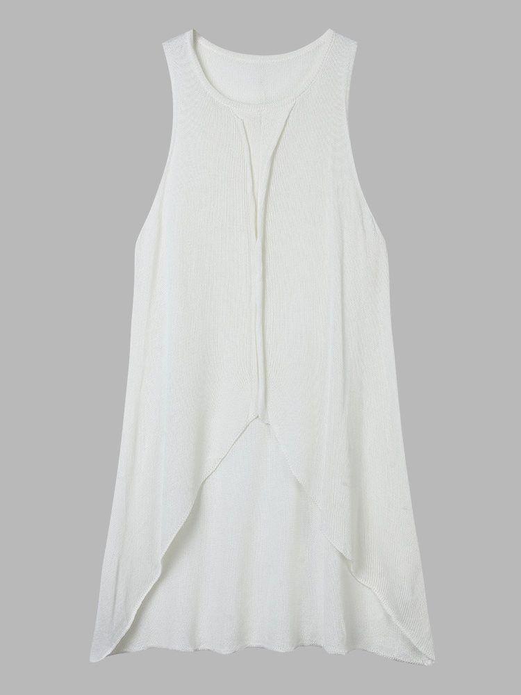 Women Round Neck Sleeveless Irregular Solid Loose Knit Dress