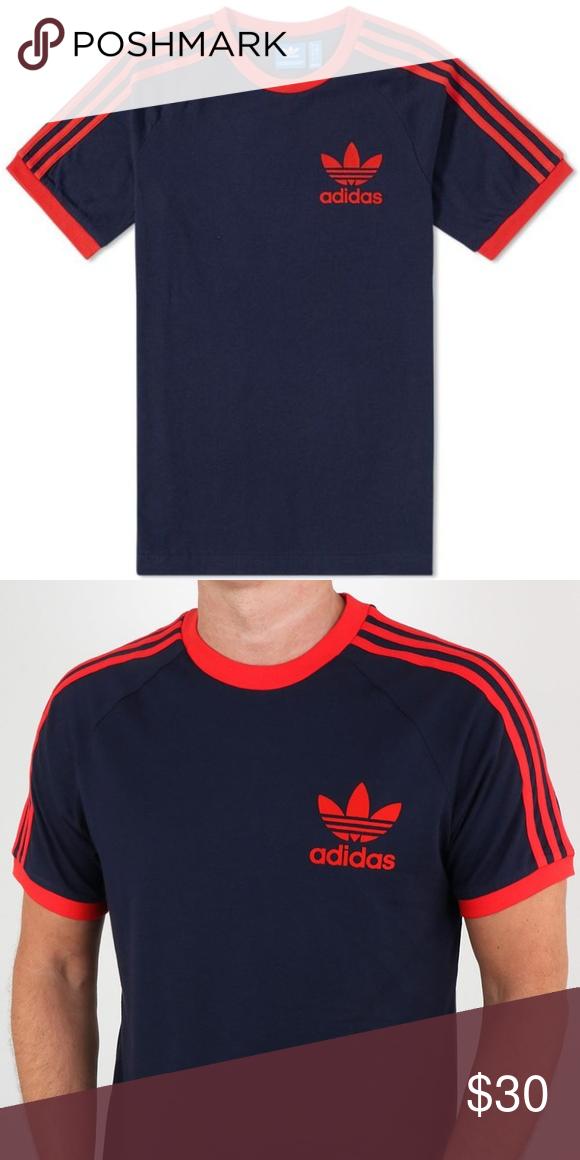Adidas Originals Retro 3 Stripes T Shirt B. Red