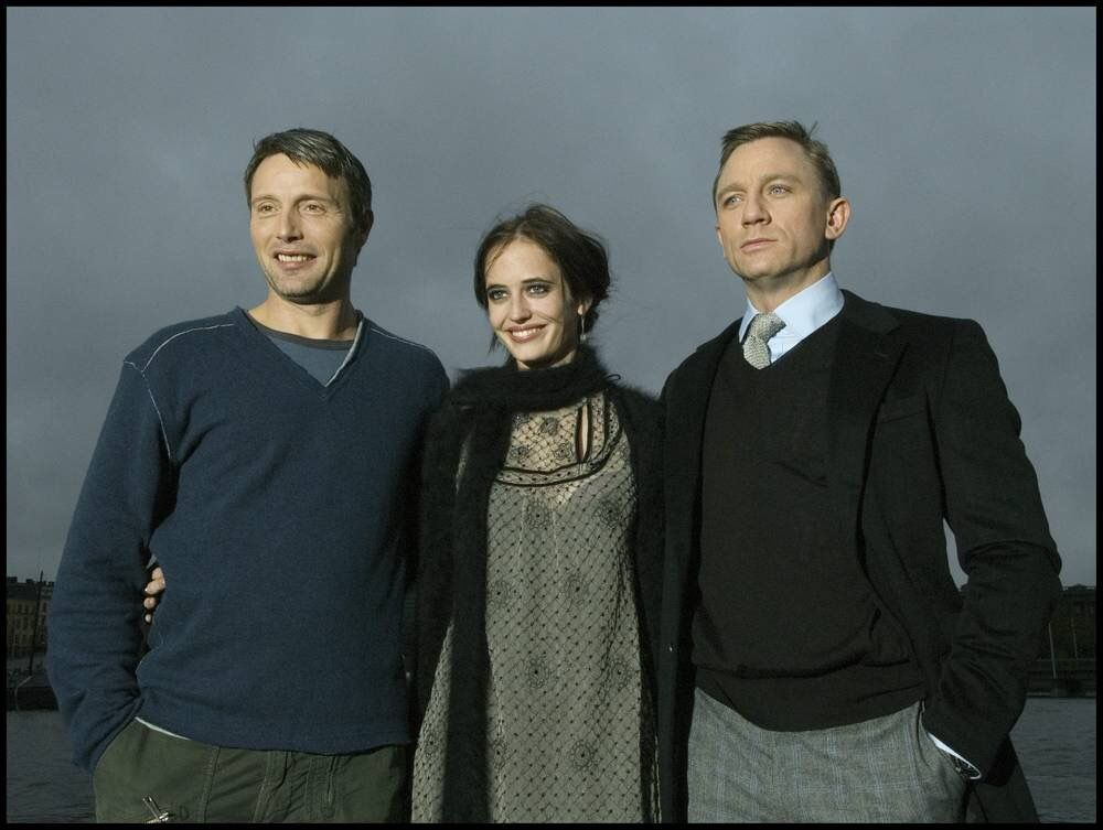 Mads Mikkelsen, Eva Green and Daniel Craig promoting Casino Royale in Stockholm.
