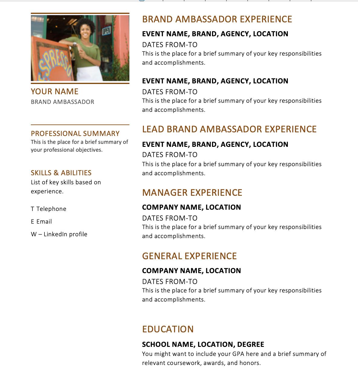 25 Brand Ambassador Resume Tips Resume tips, Brand