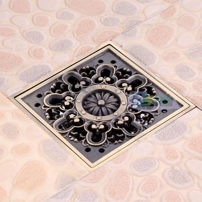 Euro Carved Square Bathroom Shower Drain Floor Waste Drain Cover Strainer  4u201cinch