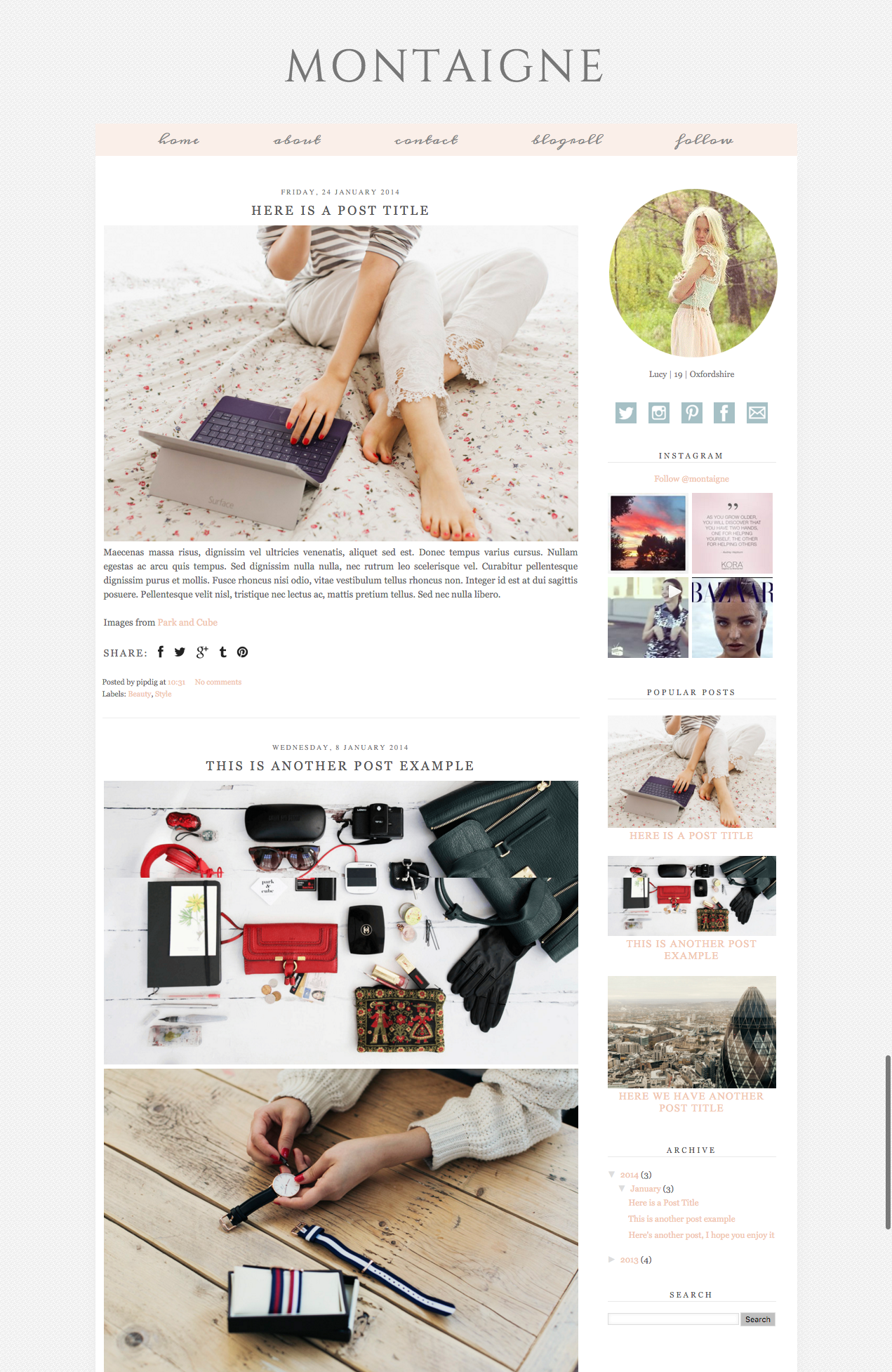 Blogger Template: Montaigne | Blogger themes, Template and Social ...