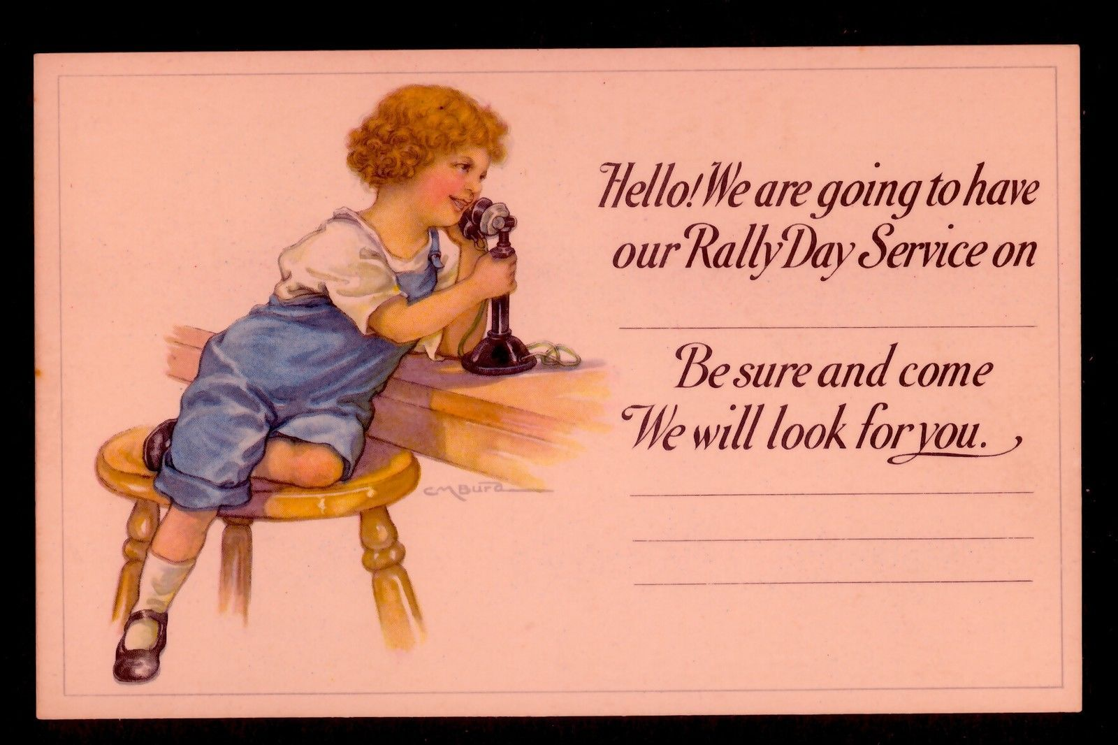 "Mint Boy Urges Attendance Church ""Rally Day"" Old Telephone Clara Burd Postcard 