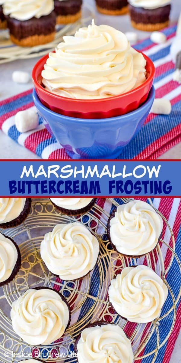 Marshmallow Buttercream Frosting - this creamy homemade buttercream frosting is made with marshmallow fluff and heavy cream. This easy recipe is perfect for cupcakes, cakes, and cookies! #frosting #marshmallow #buttercream #marshmallow
