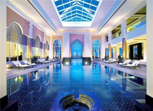 Luxury Hotel Indoor Swimming Pool Design Ideas Large Size Blue Tiles Spa Area Soft Lighting And Cozy Loungers