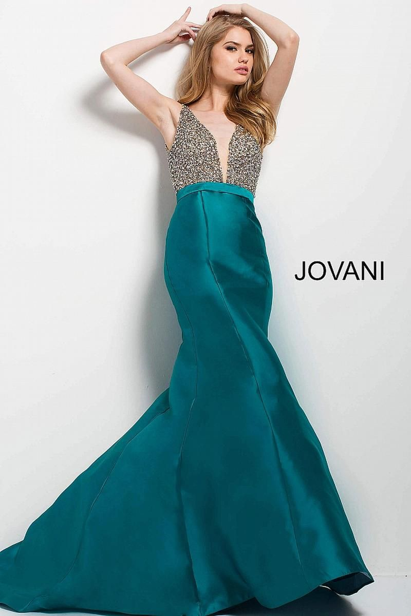 Style 45247 from Jovani is a plunging sleeveless prom gown with a ...