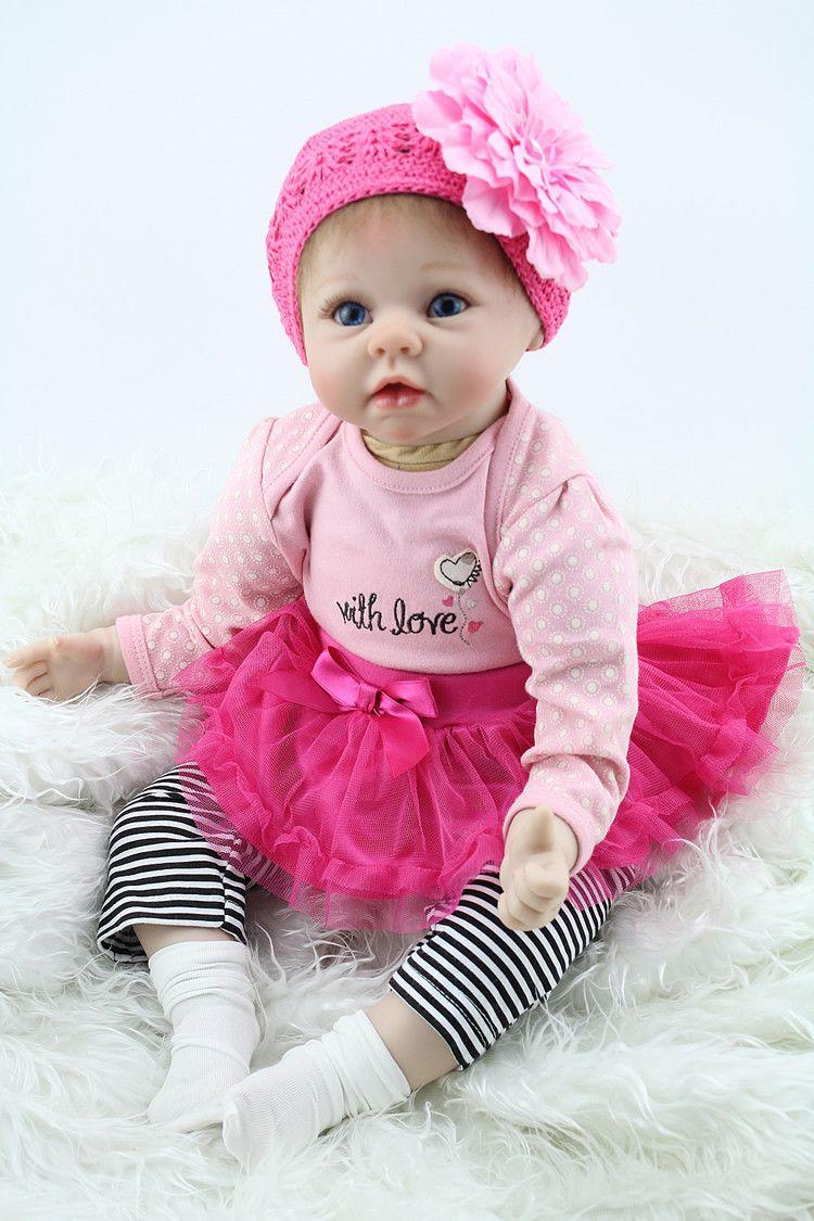 45fa3a53d5619 Pas cher 22 polegada 55 cm Silicone bébé reborn poupées