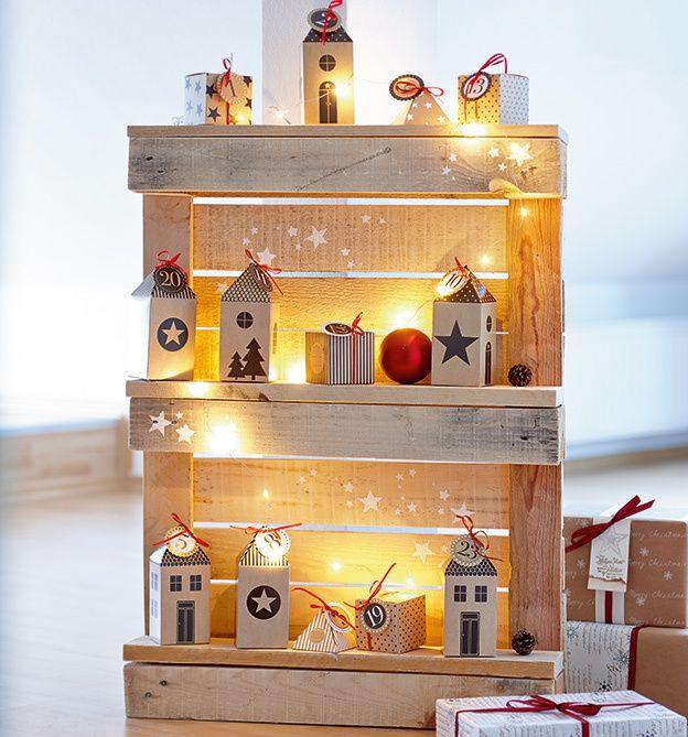 winterliche palettendeko weihnachten. Black Bedroom Furniture Sets. Home Design Ideas