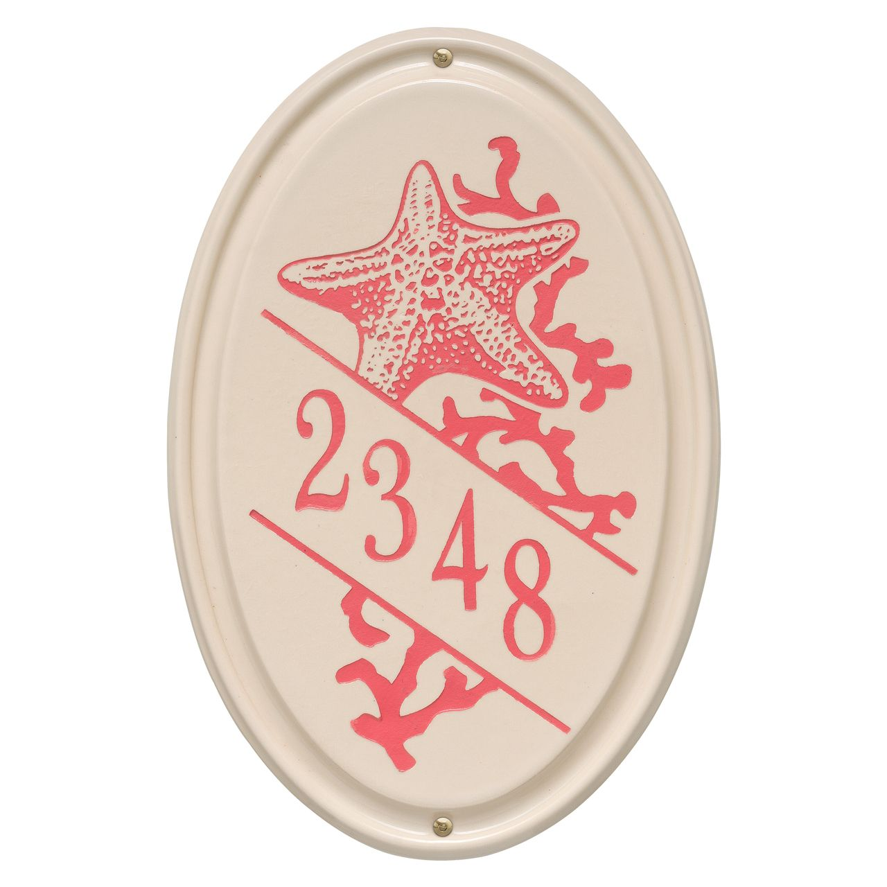 Personalized Oval Ceramic Address Plaque With Star Fish - One Line Available now at the best price only at www.everythingnautical.com  #Nautical #Home #Decor #Gifts