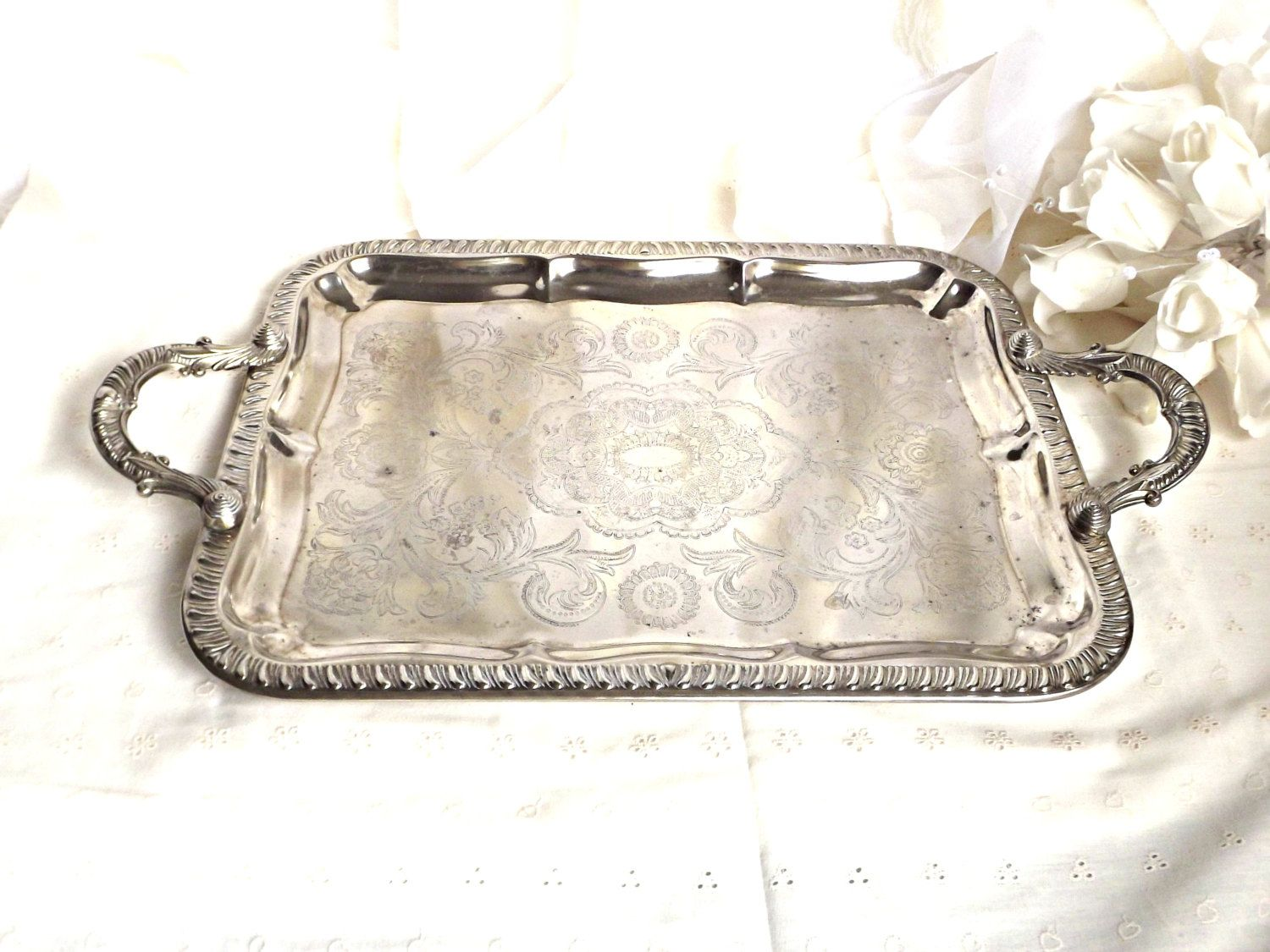 Silver Plated Tray, Silver Vanity Tray, Shabby Chic French Decor, Silver  Plate Trays