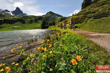 Mountain Biking along the Lake Seeben (Seebensee) in the Flumserberg Mountains, SG