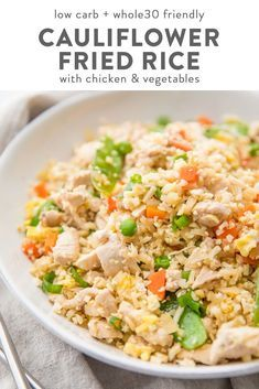 A takeout-style cauliflower fried rice with chicken that's super flavorful and filling. A quick and easy Asian one pan dinner recipe that the whole family will love. Low carb healthy plus paleo and Whole30 friendly.  A takeout-style cauliflower fried rice with chicken that's super flavorful and filling. A quick and easy Asian one pan dinner recipe that the whole family will love. Low carb healthy plus paleo and Whole30 friendly.