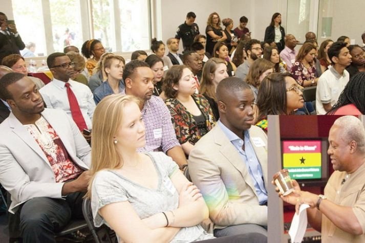 President John Mahama (right), in a short lecture at the University of South California on Made-in-Ghana products